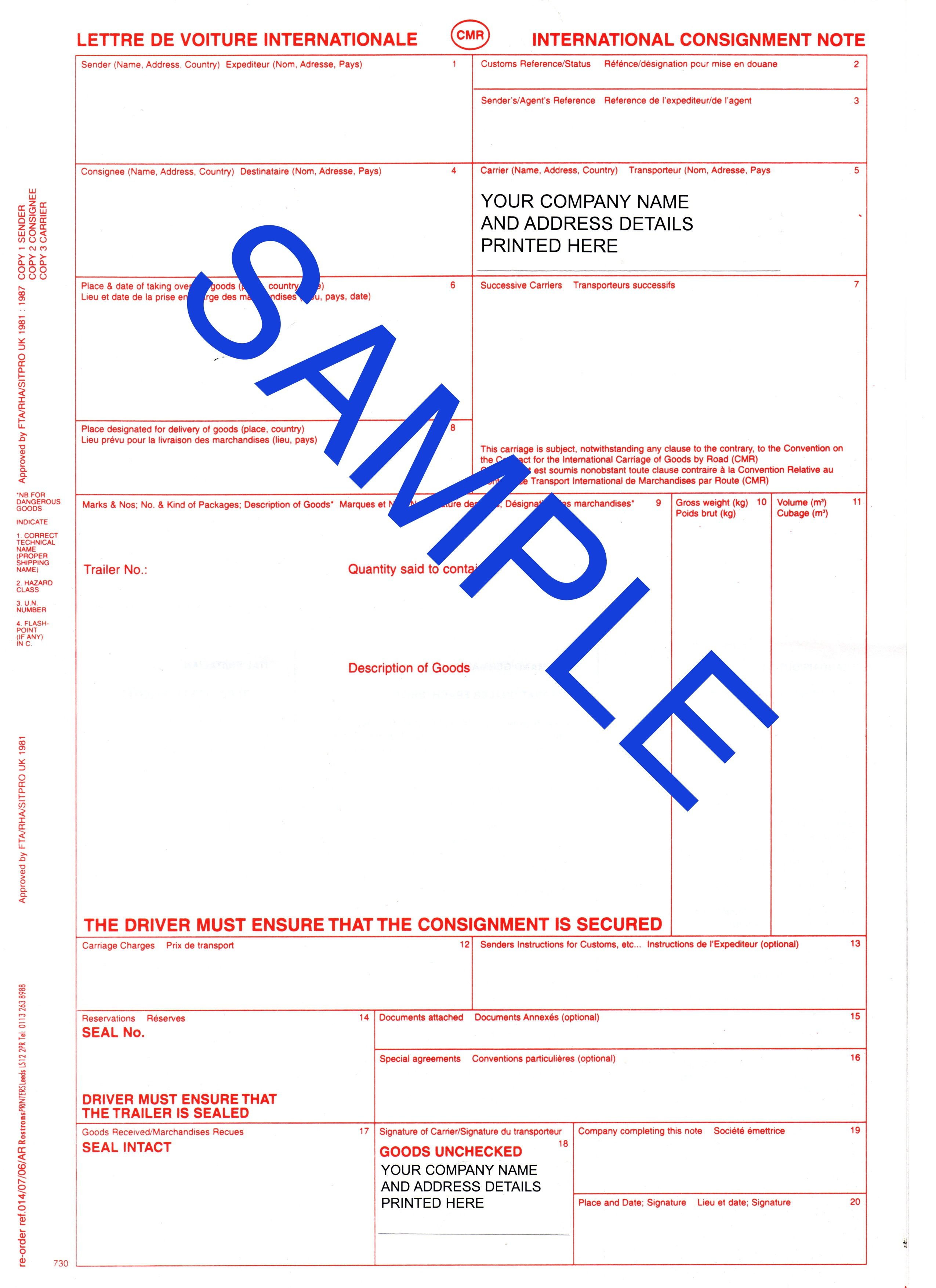 Bespoke CMR Forms- International Consignment Notes (100 sets)
